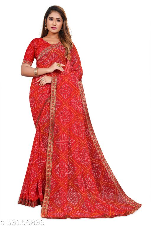 VIRUYA WOMENS PRINTED BANDHANI SAREE (Red)