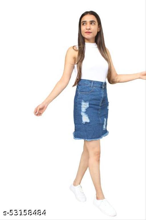INSTA CREATION Women's Denim Fanky Beautiful Skirt