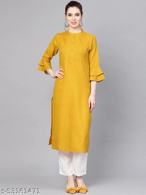 Rayon Floral Printed Yellow A-Linelong Kurti/Kurta