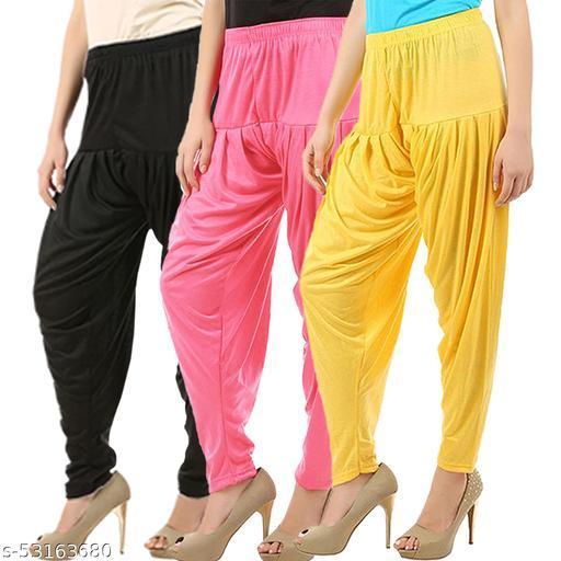 Buy That Trendz Combo Offer Pack of 3 Cotton Viscose Lycra Dhoti Patiyala Salwar Harem Bottoms Pants for Womens Black Rose Yellow