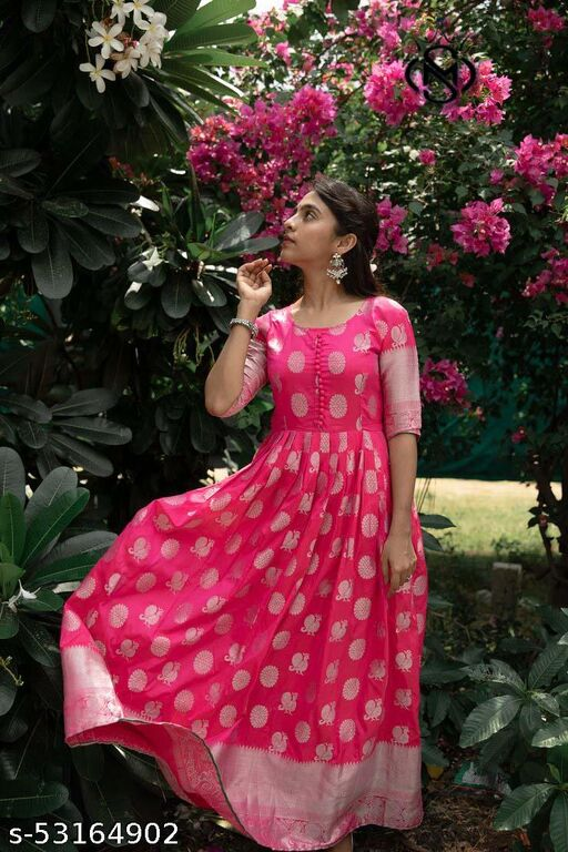 Attractive pink jacquard floor touch Party wear gown