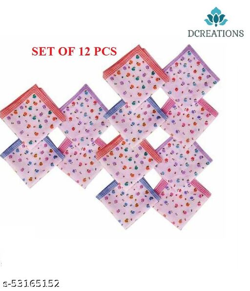 Women cotton floral handkerchief for girls and womens in pack of 12 pcs