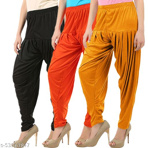 Buy That Trendz Combo Offer Pack of 3 Cotton Viscose Lycra Dhoti Patiyala Salwar Harem Bottoms Pants for Womens Black Orange Mustard