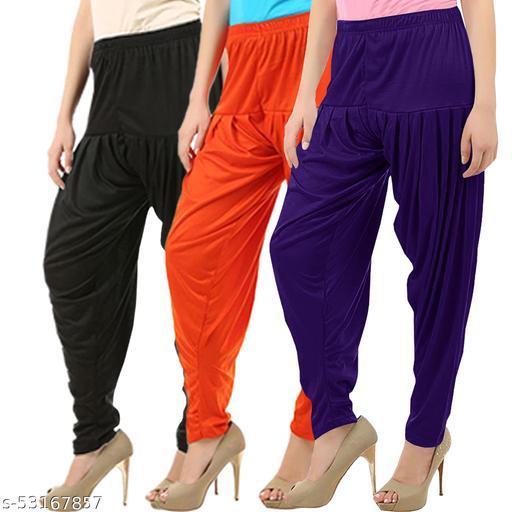 Buy That Trendz Combo Offer Pack of 3 Cotton Viscose Lycra Dhoti Patiyala Salwar Harem Bottoms Pants for Womens Black Orange Violet