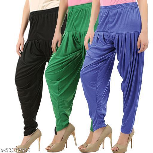 Buy That Trendz Combo Offer Pack of 3 Cotton Viscose Lycra Dhoti Patiyala Salwar Harem Bottoms Pants for Womens Black Jade Green Lavender