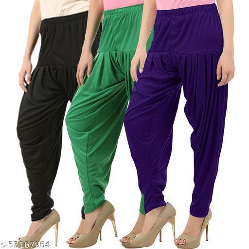 Buy That Trendz Combo Offer Pack of 3 Cotton Viscose Lycra Dhoti Patiyala Salwar Harem Bottoms Pants for Womens Black Jade Green Violet
