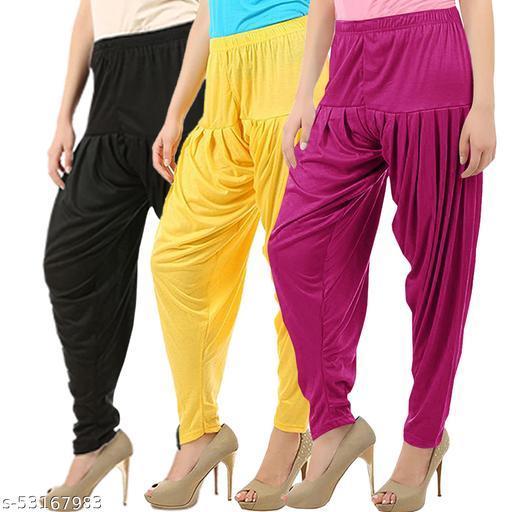 Buy That Trendz Combo Offer Pack of 3 Cotton Viscose Lycra Dhoti Patiyala Salwar Harem Bottoms Pants for Womens Black Yellow Purple
