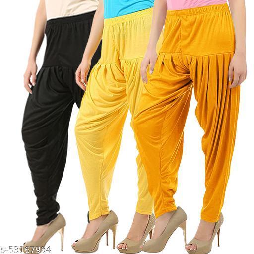 Buy That Trendz Combo Offer Pack of 3 Cotton Viscose Lycra Dhoti Patiyala Salwar Harem Bottoms Pants for Womens Black Yellow Mango Yellow