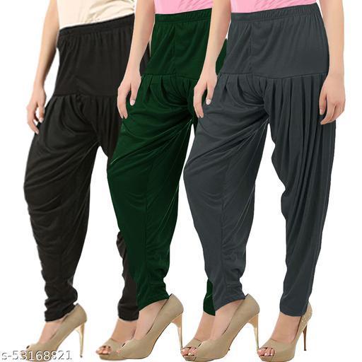 Buy That Trendz Combo Offer Pack of 3 Cotton Viscose Lycra Dhoti Patiyala Salwar Harem Bottoms Pants for Womens Black Bottle Green Dark Grey