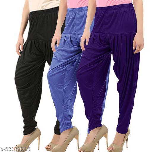Buy That Trendz Combo Offer Pack of 3 Cotton Viscose Lycra Dhoti Patiyala Salwar Harem Bottoms Pants for Womens Black Lavender Violet
