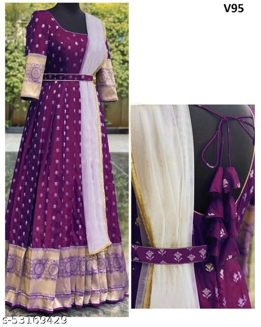 Gleaming Wine Colored Partywear Woven Soft Silk Gown With Dupatta