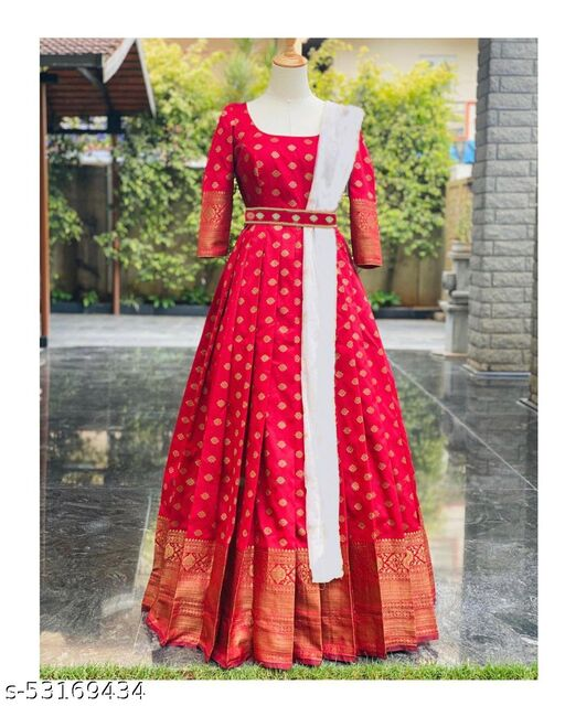 Gleaming Red Colored Partywear Woven Soft Silk Gown With Dupatta