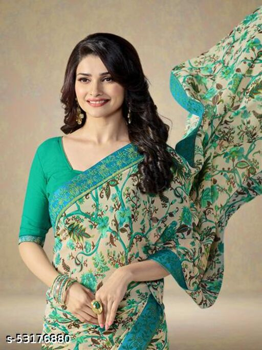 OZEX™ Daily wear Georgette fancy saree with Dupion Silk Separate Blouse Piece with best Quality