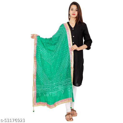 Lifestyle Art Jaipuri Stylish Silk Rayon Bandhani Bandhej Printed Gota Lace Work Dupatta (2.25 Meter) For Women's & Girl's