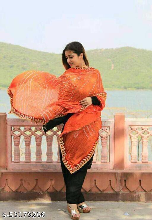 Lifestyle Art Silk Embellished Women's Dupatta Bandhani Bandhej Jaipuri Rajasthani Dupatta