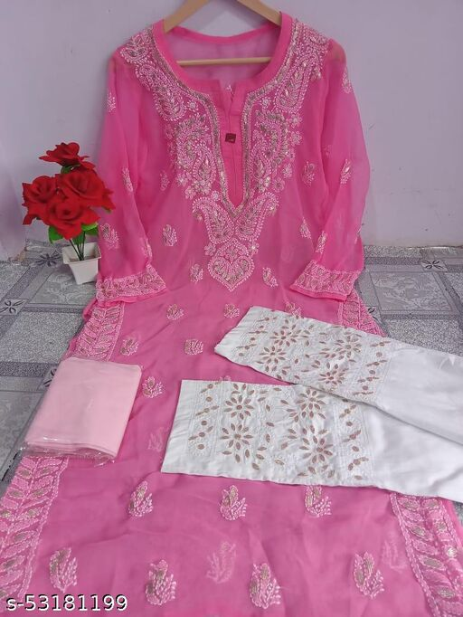 Chiffon Kurti With Inner And  Pant MD&