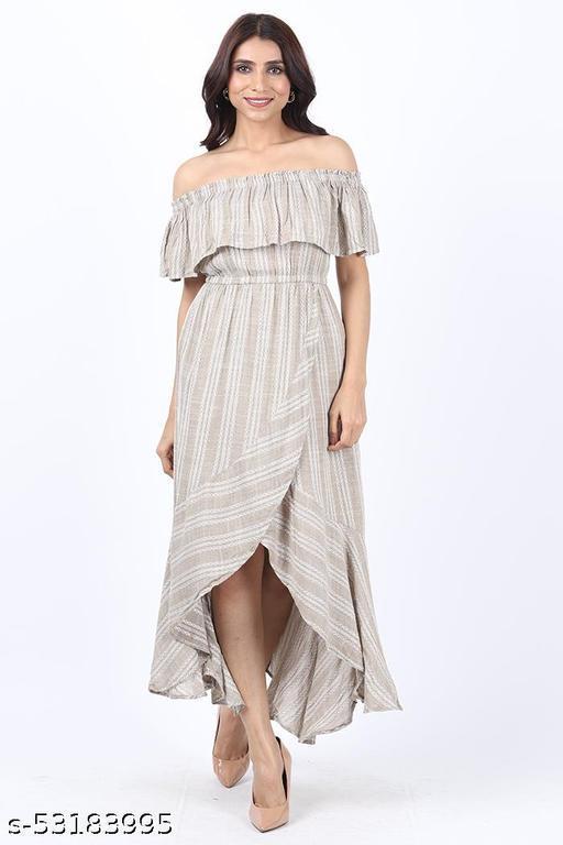 KIIKII Women's Crepe Grey Stone Striped Fit and Flare Western Dress