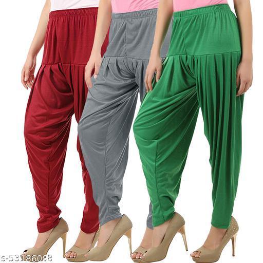 Buy That Trendz Combo Offer Pack of 3 Cotton Viscose Lycra Dhoti Patiyala Salwar Harem Bottoms Pants for Womens Maroon Grey Jade Green