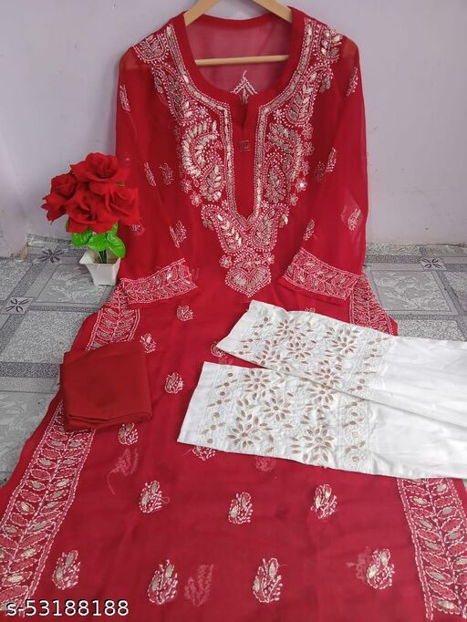 Chiffon kurti with inner and pant MD$