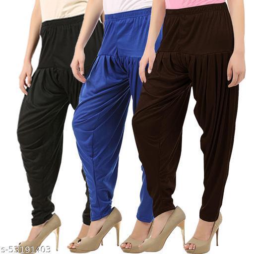 Buy That Trendz Combo Offer Pack of 3 Cotton Viscose Lycra Dhoti Patiyala Salwar Harem Bottoms Pants for Womens Black Royal Blue Chocolate Brown