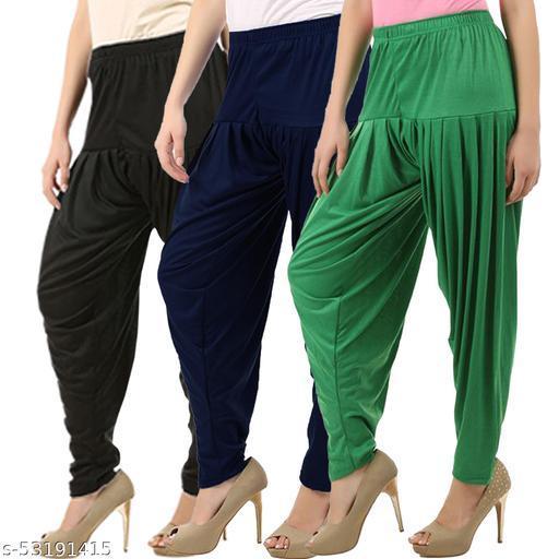 Buy That Trendz Combo Offer Pack of 3 Cotton Viscose Lycra Dhoti Patiyala Salwar Harem Bottoms Pants for Womens Black Navy Jade Green