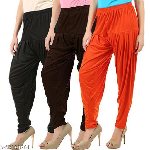 Buy That Trendz Combo Offer Pack of 3 Cotton Viscose Lycra Dhoti Patiyala Salwar Harem Bottoms Pants for Womens Black Chocolate Brown Orange