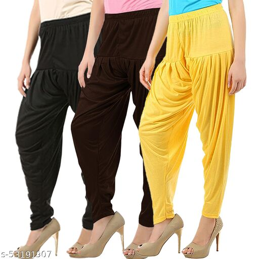 Buy That Trendz Combo Offer Pack of 3 Cotton Viscose Lycra Dhoti Patiyala Salwar Harem Bottoms Pants for Womens Black Chocolate Brown Yellow