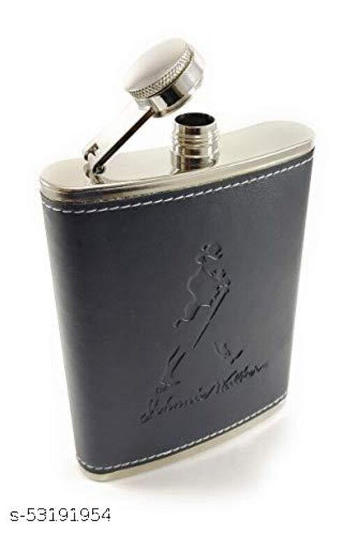 Black Stitched Leather Hip Flask (Staineless Steel) - 8oz 230ml