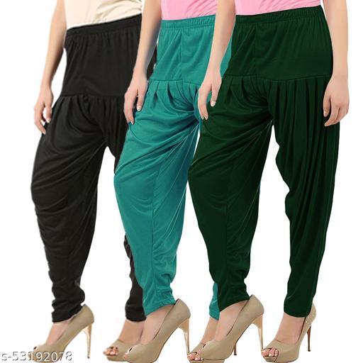 Buy That Trendz Combo Offer Pack of 3 Cotton Viscose Lycra Dhoti Patiyala Salwar Harem Bottoms Pants for Womens Black Ramar Green Bottle Green