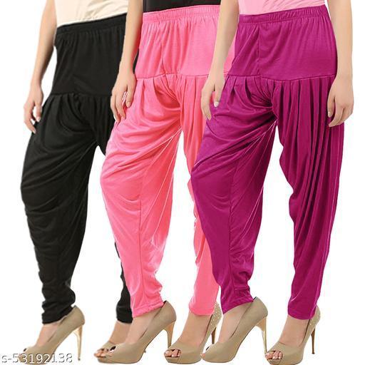 Buy That Trendz Combo Offer Pack of 3 Cotton Viscose Lycra Dhoti Patiyala Salwar Harem Bottoms Pants for Womens Black Rose Purple