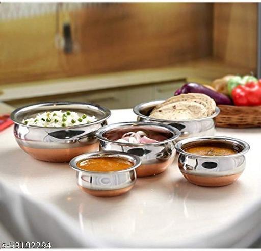 Stainless Steel Copper Bottom Cooking Serving Pot Biryani Handi Punjabi Handi - 5 Pcs Set