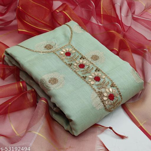 Light Green Fancy Modal Chanderi Jacquard Embriodered Designer Salwar Suit Material (Unstitched)