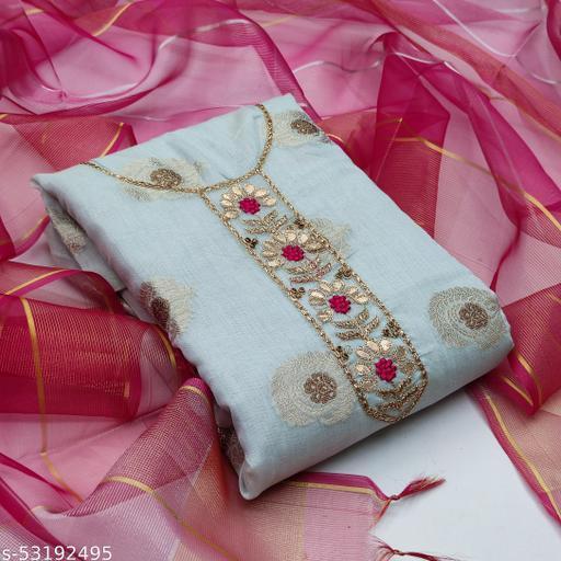 Grey Fancy Modal Chanderi Jacquard Embriodered Designer Salwar Suit Material (Unstitched)