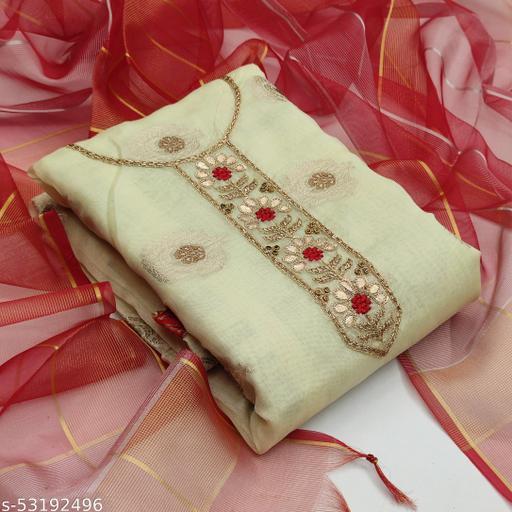 Beige Fancy Modal Chanderi Jacquard Embriodered Designer Salwar Suit Material (Unstitched)