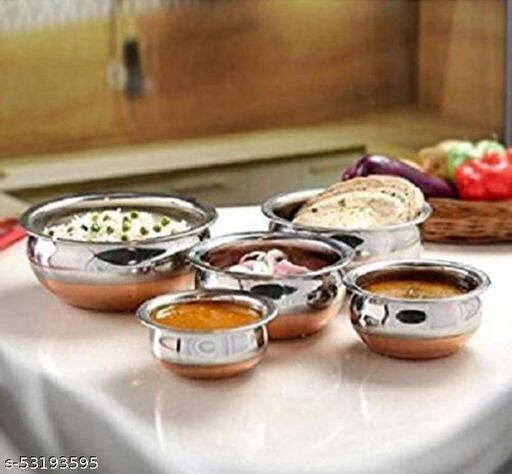 Premium quality stainless steel copper  bottom cooking serving pots with lids pack of 5 pcs