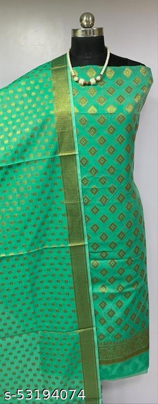 (H3Mint Green) Fabulous Banarsi Cotton Suit And Dress Material