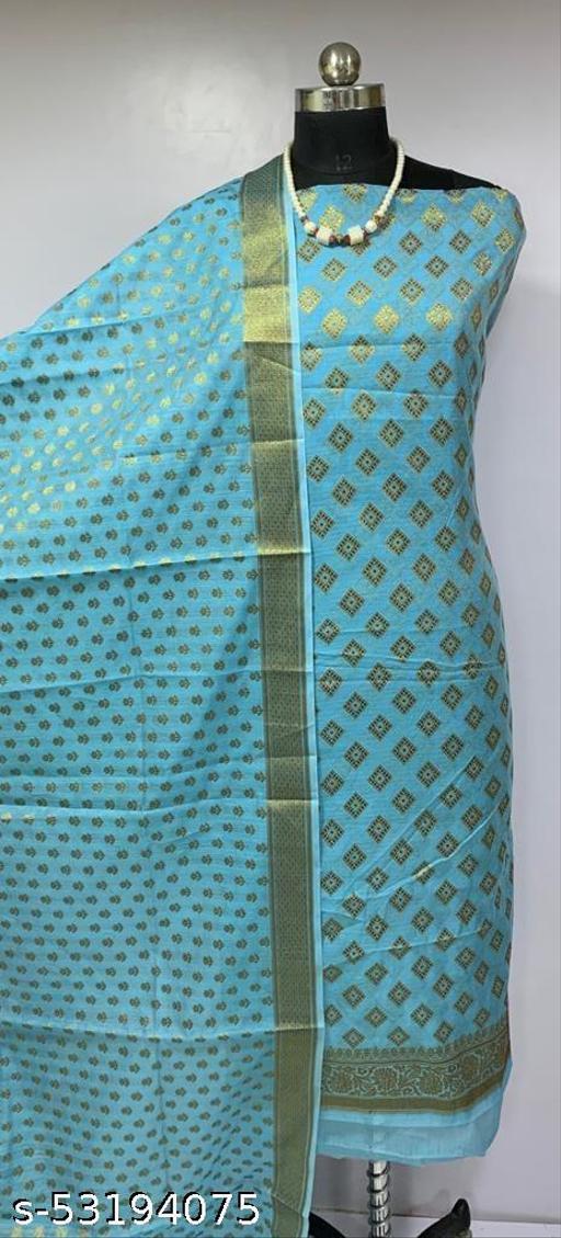 (H3Aqua Blue) Fabulous Banarsi Cotton Suit And Dress Material