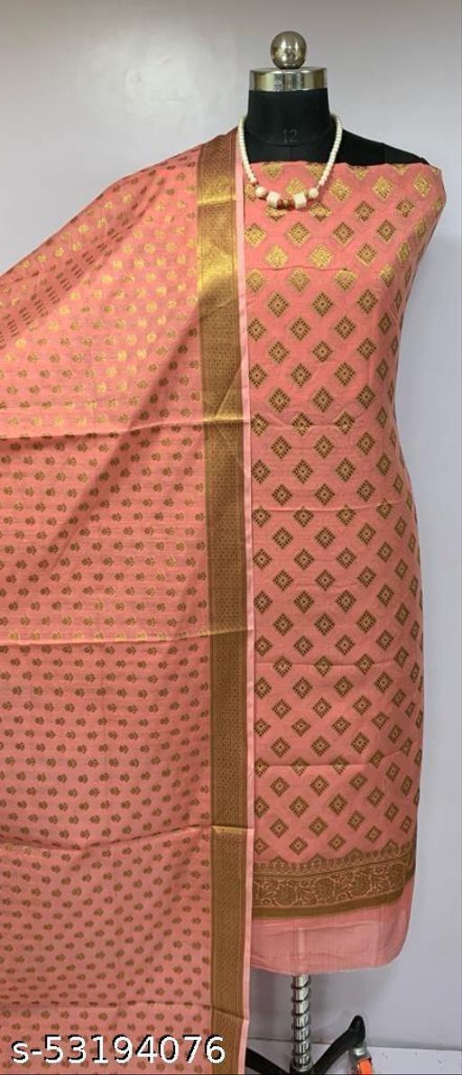 (H3Peach) Fabulous Banarsi Cotton Suit And Dress Material