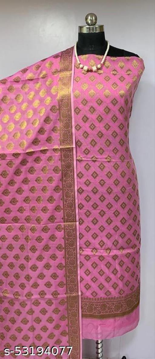 (H3Pink) Fabulous Banarsi Cotton Suit And Dress Material