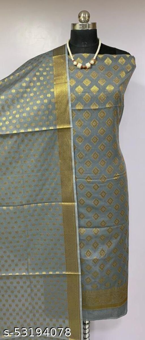 (H3Grey) Fabulous Banarsi Cotton Suit And Dress Material
