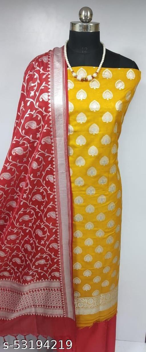 (H1Mustard) Fabulous Banarsi Pure Silk Suit And Dress Material
