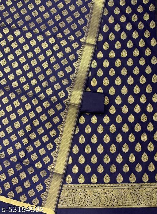 (H1Navy Blue) Trendy Unstitch Banarsi Silk Suit