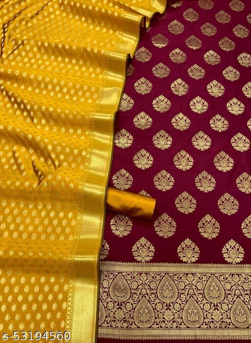 (H4Maroon) Fabulous Weddings Special Banarsi Jaquard Contrass Silk Suit And Dress Material