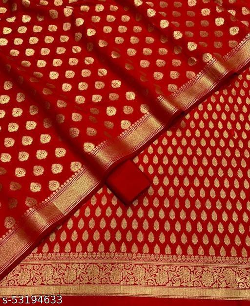 (H9Red) Trendy Unstitch Banarsi Silk Suit