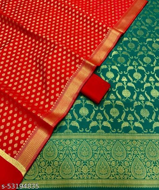 (H10Teal) Fabulous Weddings Special Banarsi Jaquard Contrass Silk Suit And Dress Material