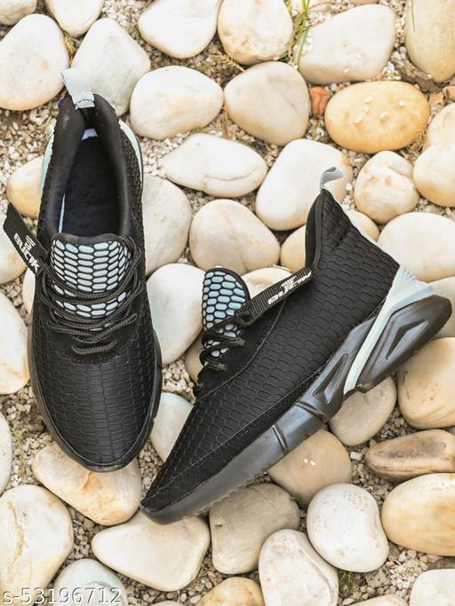 ZORIK Men's Black Mesh Lace up Casual Shoes