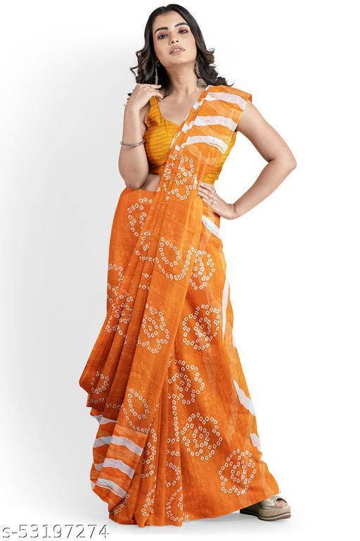 Kali trendz Chiffon Bandhani and Lehriya Print Sari WITHOUT BLOUSE