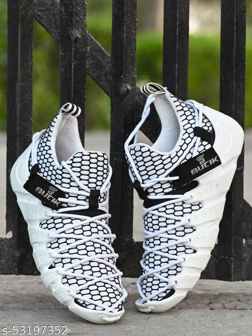 Zorik  Men's White Mesh Lace up Running Shoes