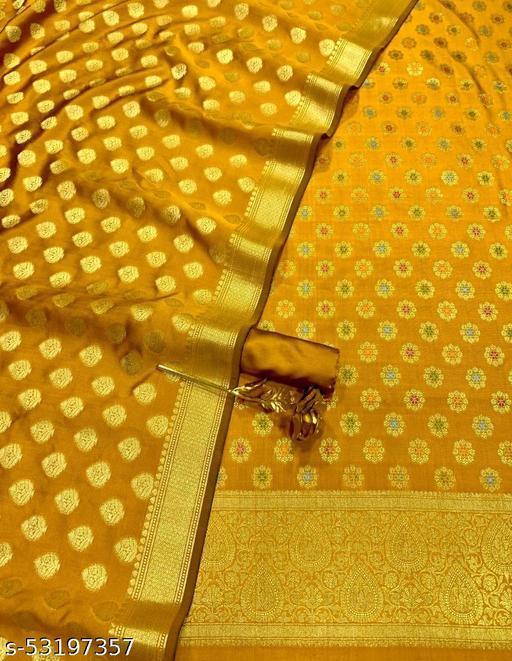 (H5Mustard) TrenDy Banarsi Jaquard Multi Mina Silk Suit And Dress Material