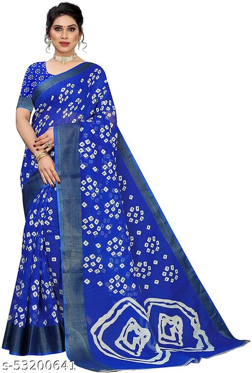 Dutt Textile Printed Bandhani Cotton Blend, Polycotton Saree with Blouse Piece